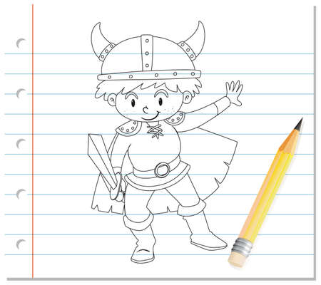 Hand drawing of boy in knight costume outline illustration Vecteurs