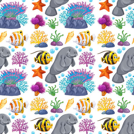 Seamless background design with sea creatures illustration