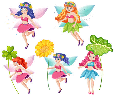 Set of cute fairies holding a flower cartoon character on white background illustration