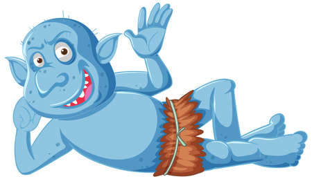 Blue goblin or troll smile while lying down in cartoon character isolated illustration