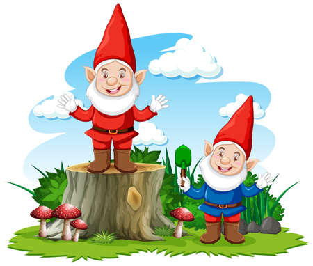 Gnome posing smile in the garden on white background illustration Banque d'images - 149201669
