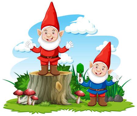 Gnome posing smile in the garden on white background illustration