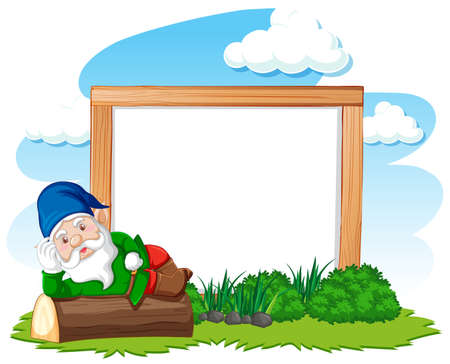 Gnome lying on stump infront of blank banner cartoon style on white background illustration Banque d'images - 149201733
