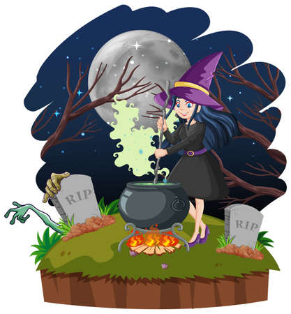 Witch with black magic pot cartoon style on dark forest background illustration
