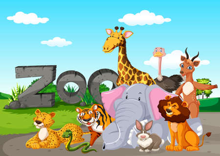 Zoo animals in the wild nature background illustration 向量圖像