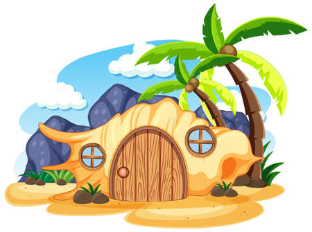 Shell fairy tale house on the beach cartoon style on white background illustration Banque d'images - 149213835