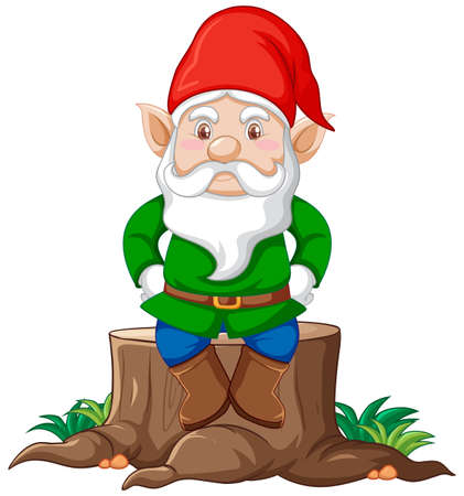 Gnome sitting on stump cartoon character on white background illustration Banque d'images - 149213840