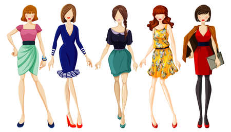 Set of fashionable lady illustration