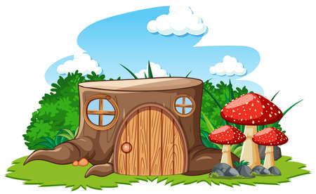 Stump house with mushroom in cartoon style on white background illustration