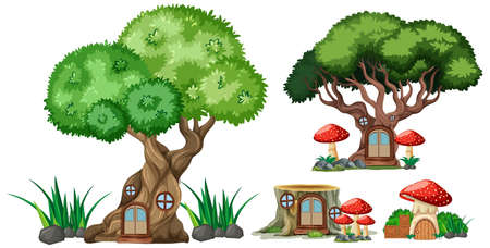 Set of isolated tree and stump houses cartoon style on white background illustration Banque d'images - 149200426