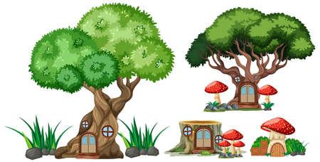 Set of isolated tree and stump houses cartoon style on white background illustration