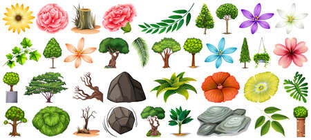 Set of different nature isolated on white background illustration