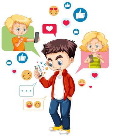 Boy using smart phone with social media icon theme isolated on white background illustration