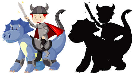 Knight riding cute dragon with sword in color and silhouette illustration Çizim
