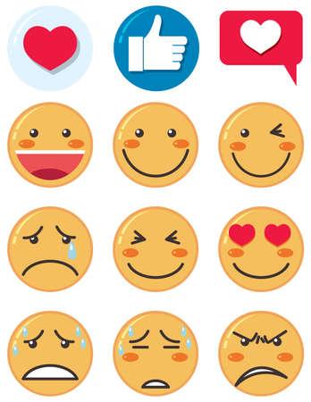 Emoji feeling icon isolated theme on white background illustration Vektoros illusztráció