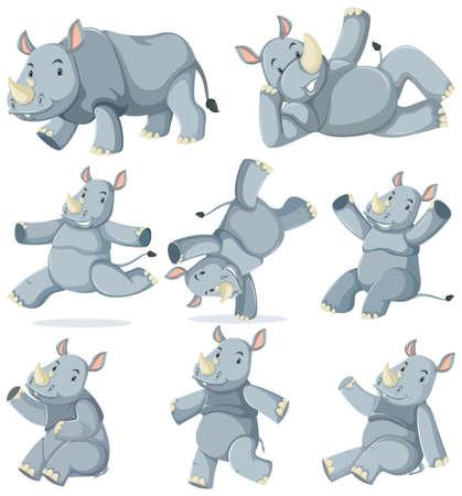 Set of rhinoceros cartoon character illustration