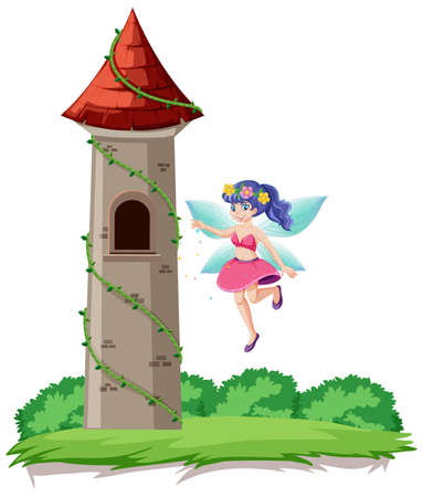 Fairy tale and castle tower cartoon style on rainbow sky background illustration