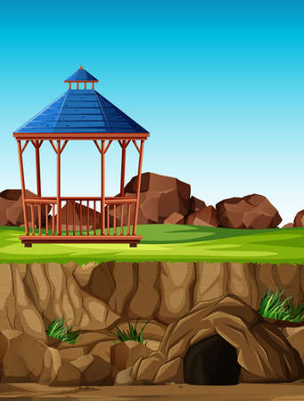 Animal park construction without animal in cartoon style illustration
