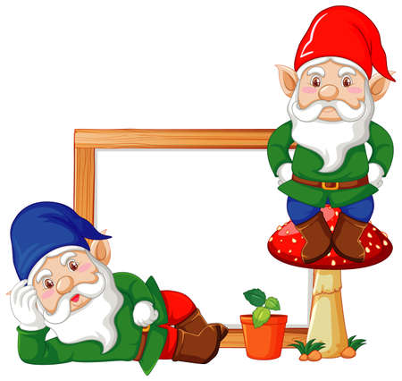 Gnomes with blank banner in cartoon character on white background illustration Vetores