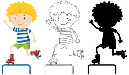 Boy playing roller skate in colour and outline and silhouette illustration Illustration