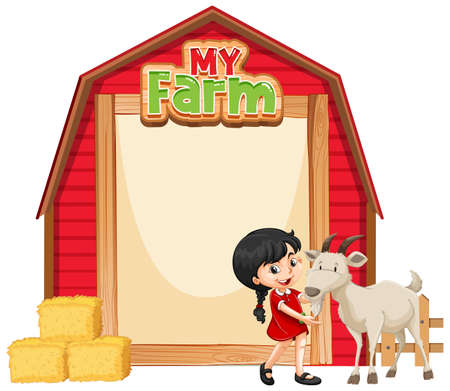 Border template design with girl and goat illustration