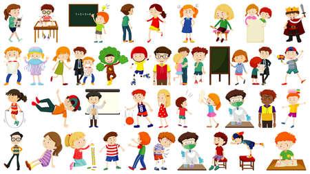 Set of cute kids cartoon character illustration