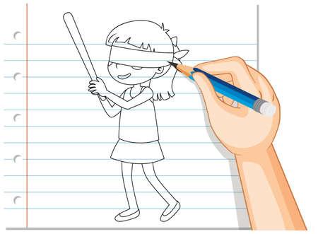 Hand writing of girl blindfold outline illustration