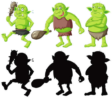 Goblin or troll holding hunting tool in color and silhouette in cartoon character on white background illustration