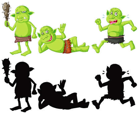 Set of goblin or troll in color and silhouette in cartoon character on white background illustration