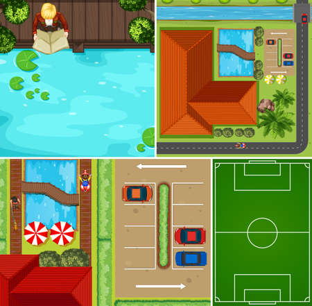 Set of aerial pool and basketball court scene illustration