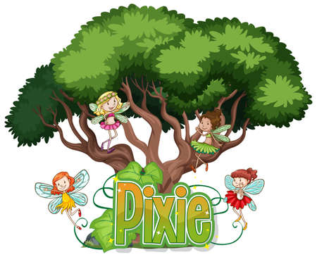 Pixie logo with little fairies on white background illustration