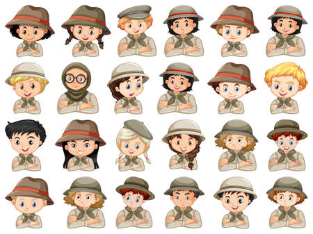 Set of different characters of boys and girls scout costume on a white background illustration