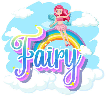 Fairy logos with little fairy on white background illustration Vectores