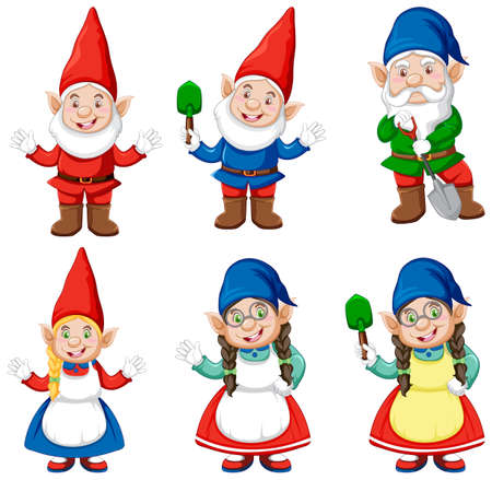 Group of gnome in gardener costume cartoon style isolated on white background illustration