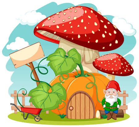 Gnomes and pumpkin mushroom house cartoon style on white background illustration
