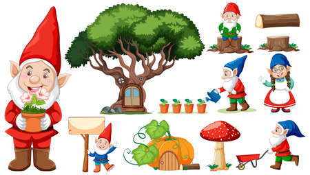 Set of garden gnome cartoon character on white background illustration Banque d'images - 150065806