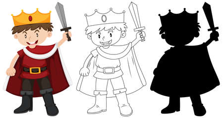 Boy wearing knight costume with its outline and silhouette illustration