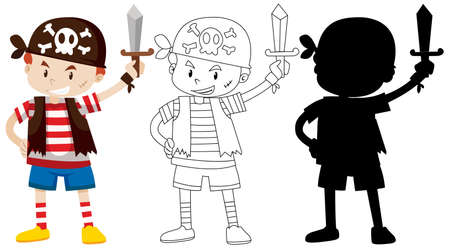 Boy in pirate costume with its outline and silhouette illustration