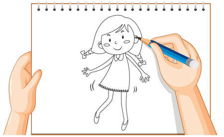 Hand drawing of cute girl cartoon illustration
