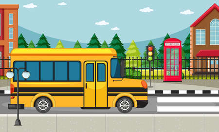 Street side scene with school bus on the road scene illustration