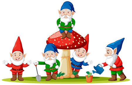 Gnomes and mushroom in cartoon style on white background illustration