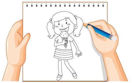 Hand writing of girl eating ice cream outline illustration Illustration