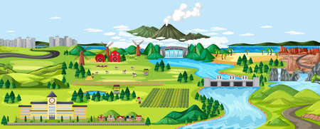 Agriculture rural landscape scene illustration