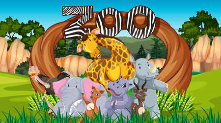 Zoo animals in the wild nature background illustration Illustration