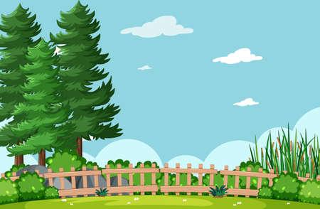 Blank sky in nature park scene with tree illustration Vetores