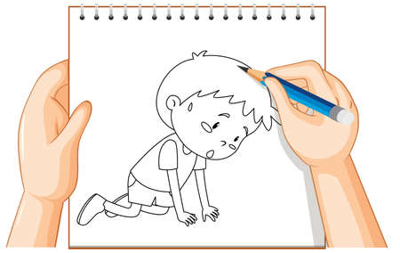 Hand writing of sad boy outline illustration Vectores
