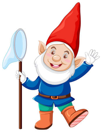 Gnome with insact catching in cartoon character on white background illustration Illusztráció