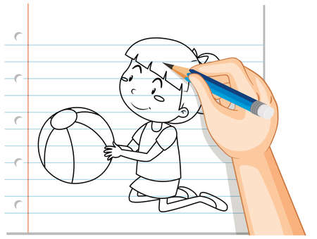 Hand writing of cute girl holding ball outline illustration