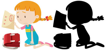Girl have bad exam mark with its silhouette illustration