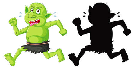Goblin or troll in color and silhouette in cartoon character on white background illustration Banco de Imagens - 150066276